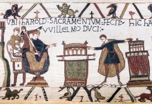 1280px-Bayeux_Tapestry_scene23_Harold_sacramentum_fecit_Willelmo_duci-300x205
